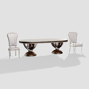 merloni table chair 3d 3ds