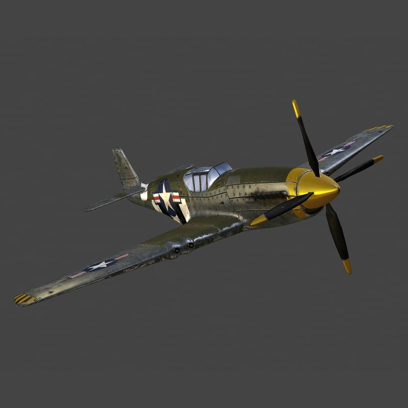 3ds max plane p-51 fighter