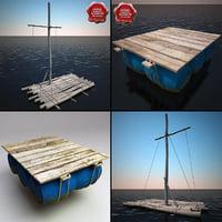 3d rafts set modelled model
