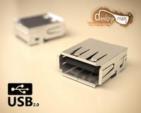 usb 2 0 connector 3d model