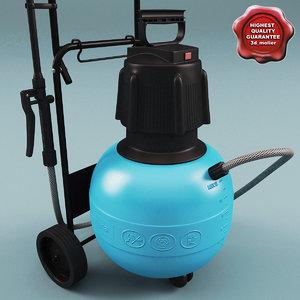 wheeled garden sprayer 3d obj