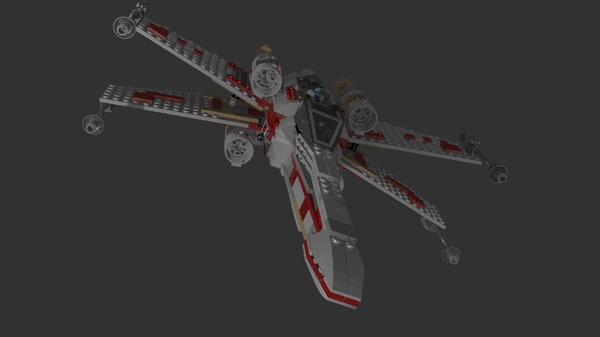 lego x-wing 3d blend