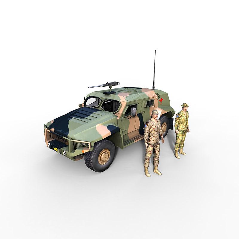 hawkei vehicle aus soldier 3d max