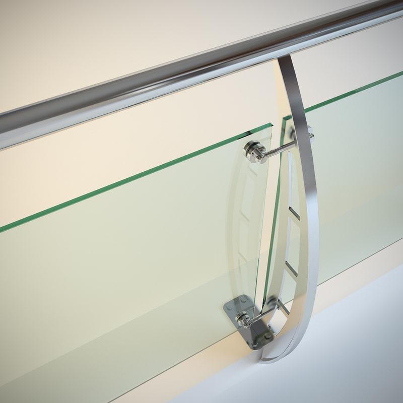 steel railing glass 3d model