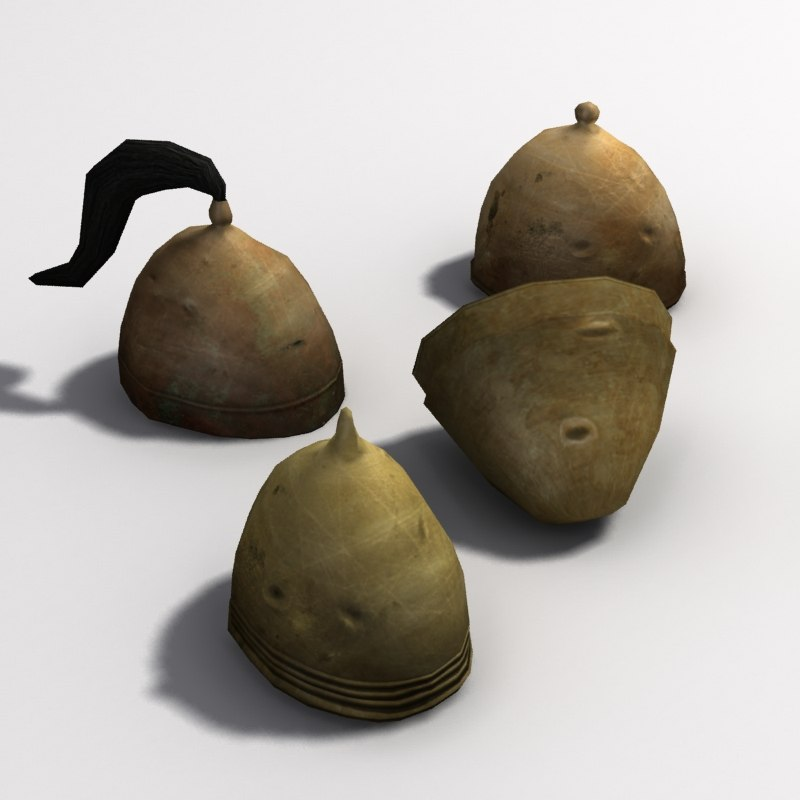 3d model of greek helmets