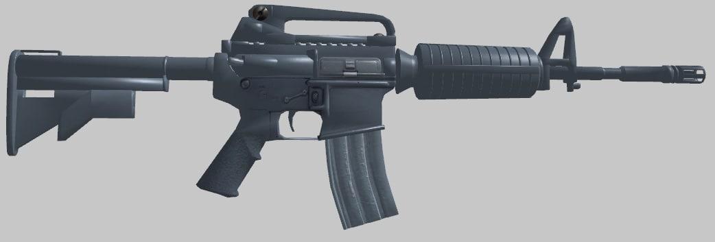 3d m4 carbine gun assault rifle model