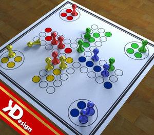 3d model of ludo board boardgames
