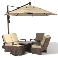 Coral coast Sunbrella sun umbrella with tilt big rattan wicker outdoor furniture set