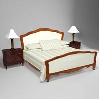 elegant double bed night 3d max
