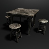 Worn Wooden Table & Stools - Low Poly