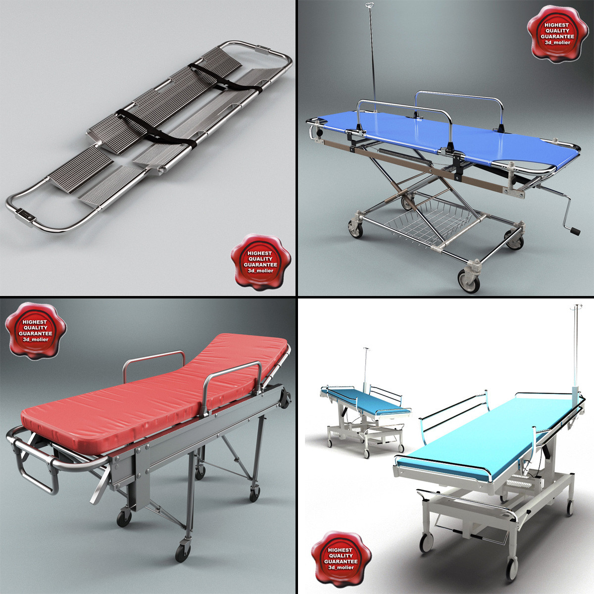 stretchers set ambulance 3d obj