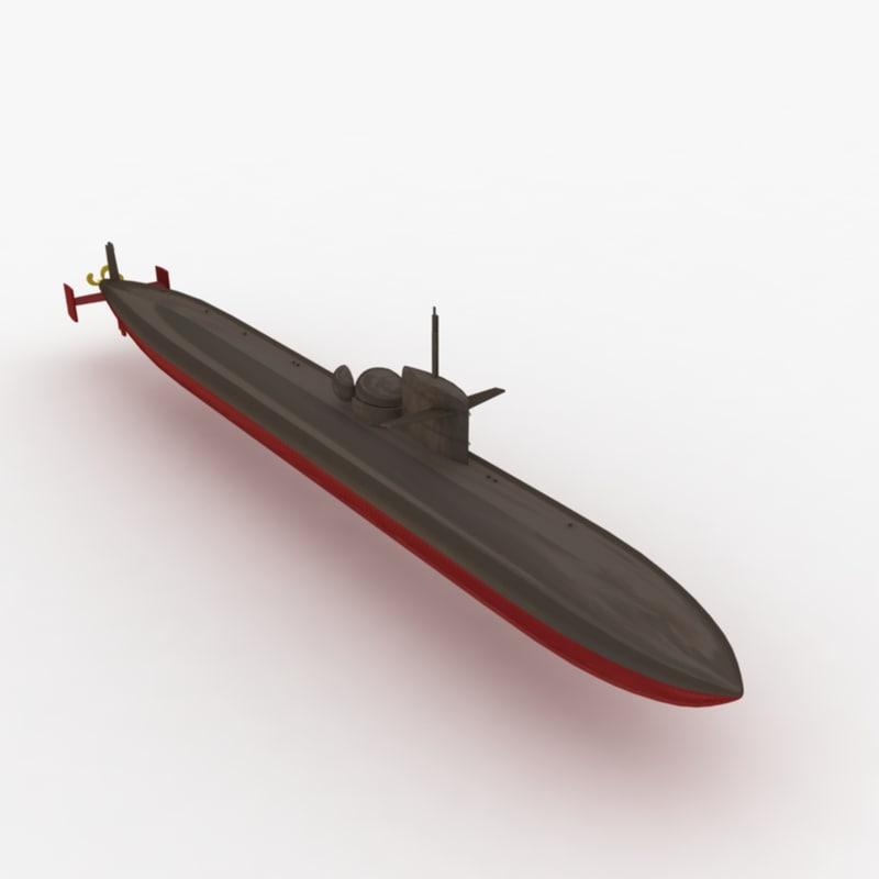 3d uss dallas submarine model