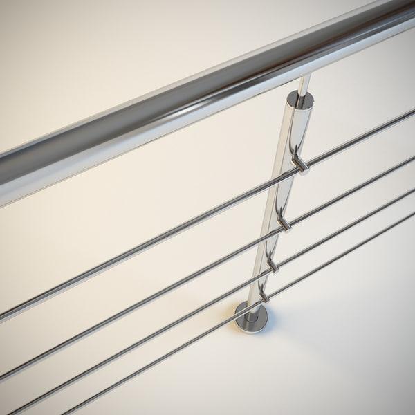 3d model steel railing