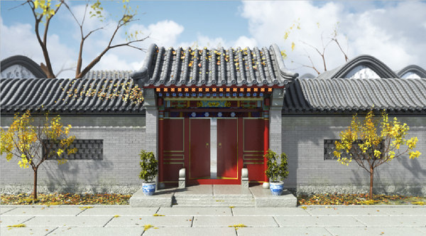 3ds max door chinese wall