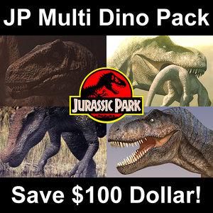 3d model of jurassic park multi dino