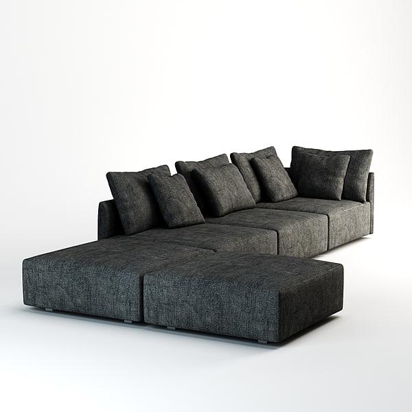 minotti milano sofa 3d model