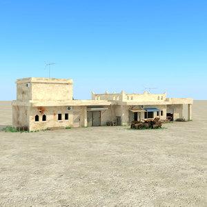3d arab buildings houses car wrecks