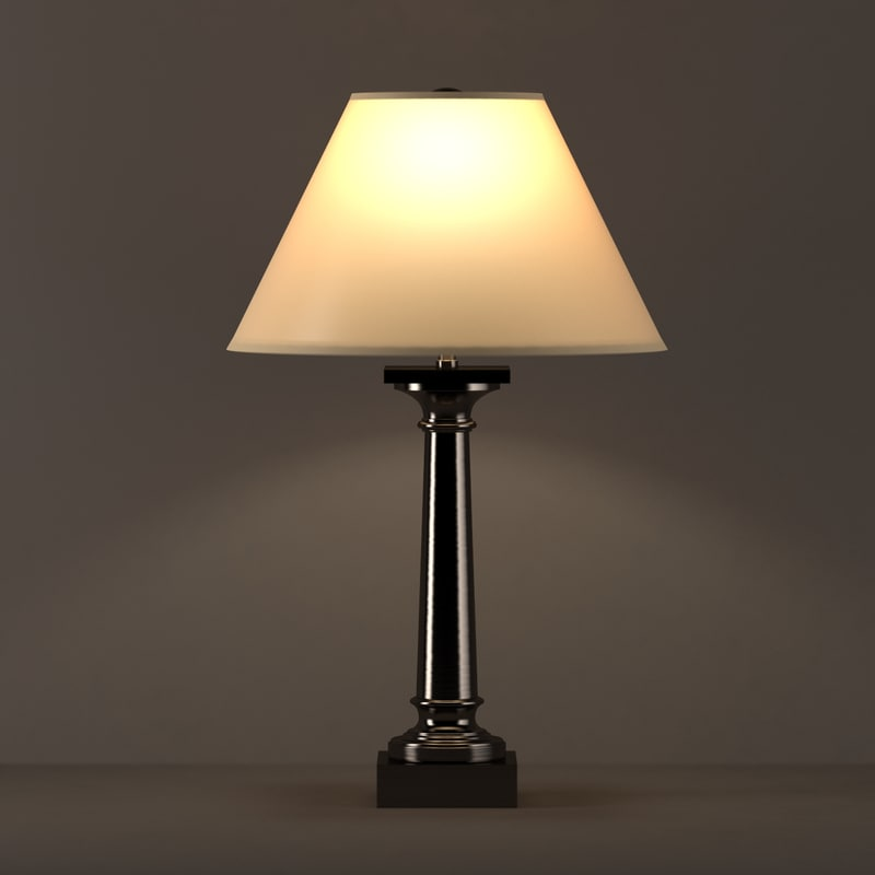3d model classic column table lamp