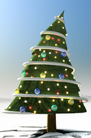 3d illustrative christmas tree comic model