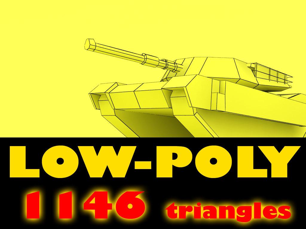 3ds low-poly abrams m1 tank