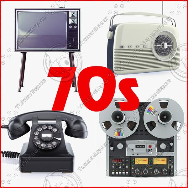 retro electronics 70s c4d