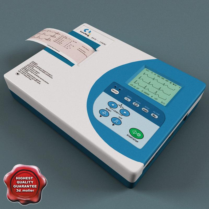 3d model ecg machine electrocardiograph carewell