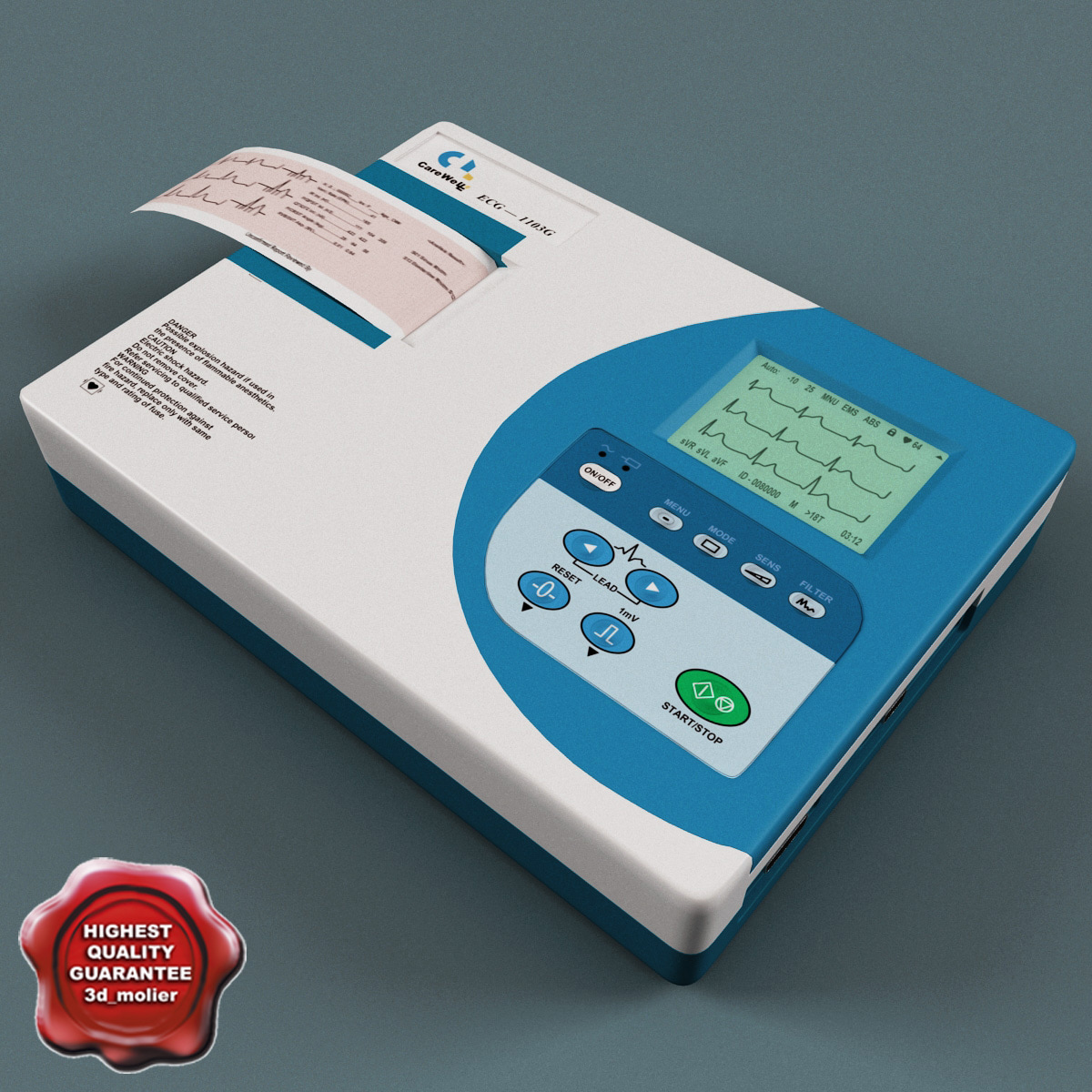 3d model ecg machine electrocardiograph carewell