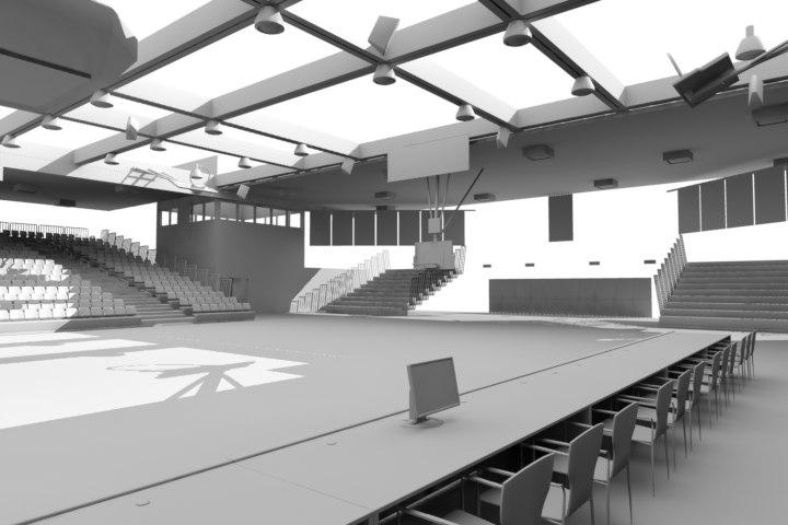 gym basketball court obj