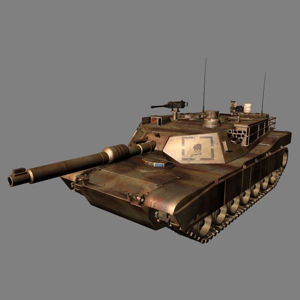 m1-abrams tank gun 3d model