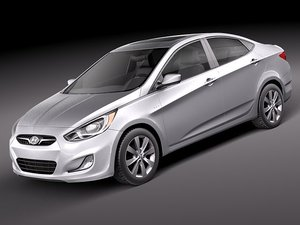 3d model hyundai accent 2012 sedan