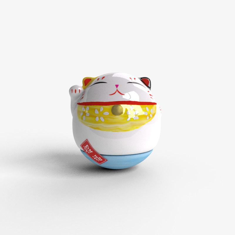 porcelain cat 3d model