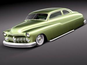 3d model mercury coupe 1950 antique
