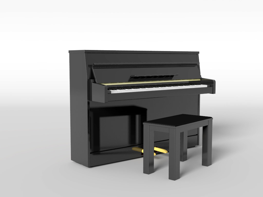 upright piano 3d fbx