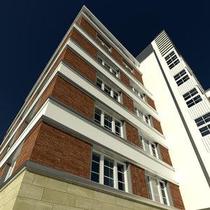 old office building crossroad 3d model