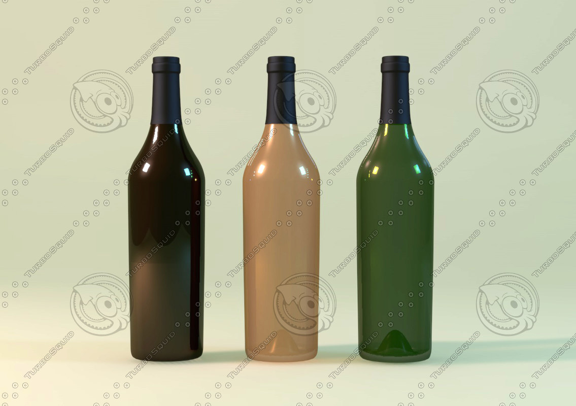 3d wine bottle model