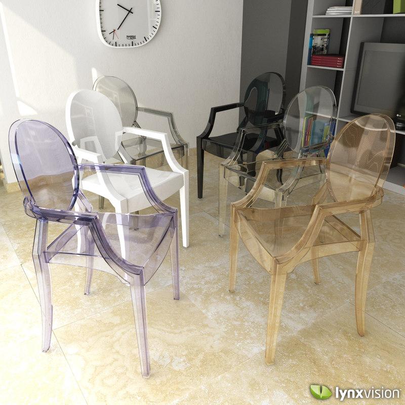 3d louis ghost armchair chair model
