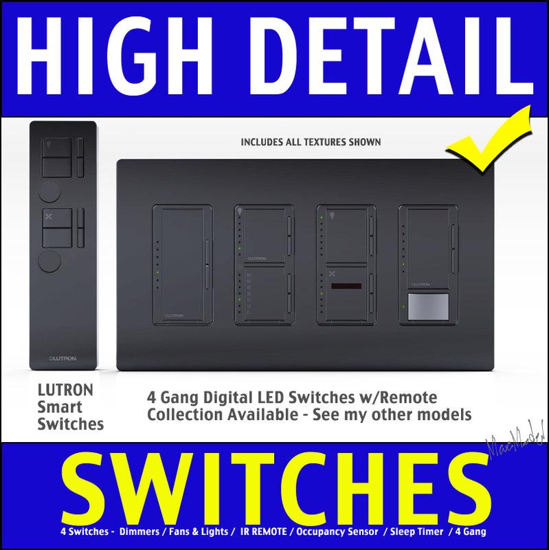 3d model of 4 gang dimmer light switch
