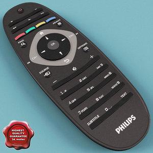 philips tv remote 3d model
