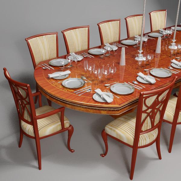 italian dining set 3d model