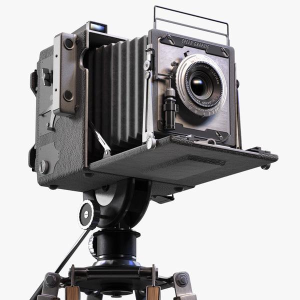 3d model realistic vintage camera tripod