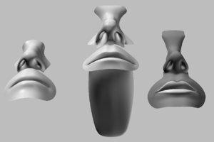 3d character parts human heads model