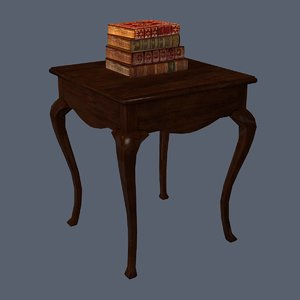 cabriole table bonus books 3d obj