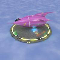 retro rocketship 3d blend