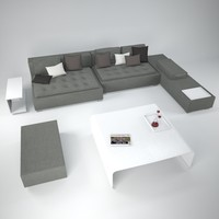 zanotta domino sofa tables 3d model