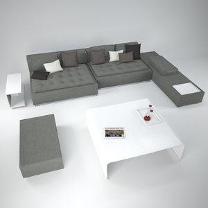 zanotta domino sofa tables 3d model