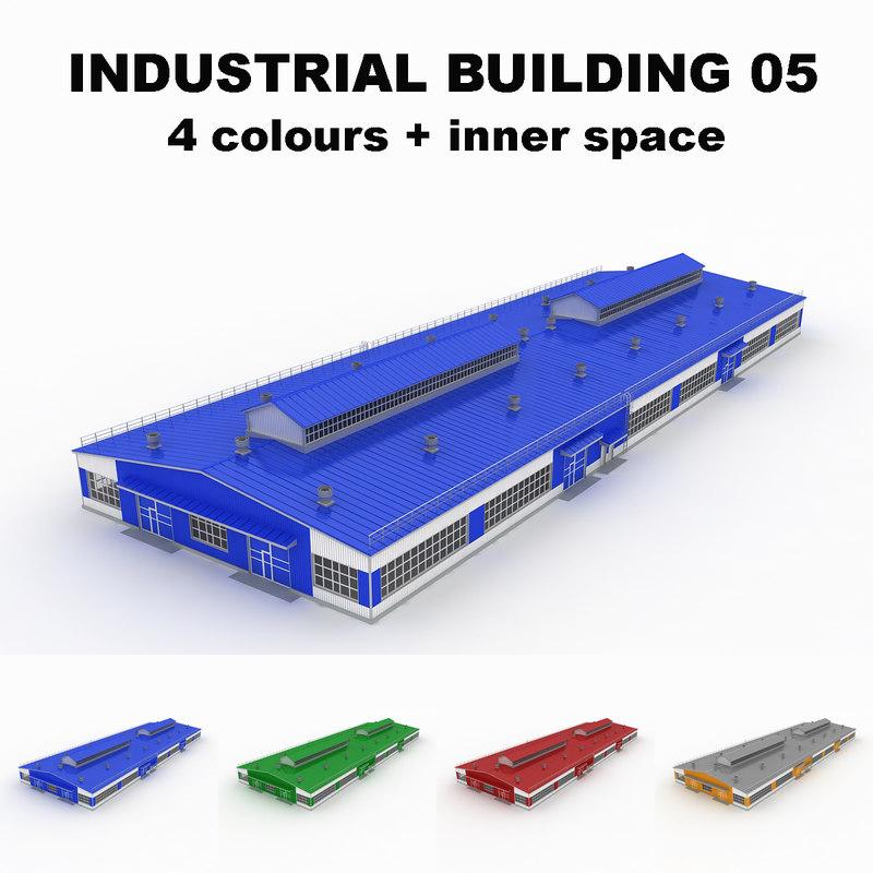 large industrial building 05 obj