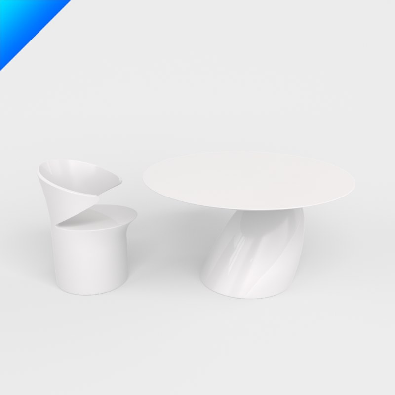 3dsmax parabel dining table chairs