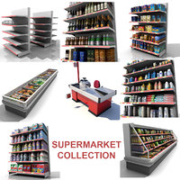 supermarket shelves cash obj