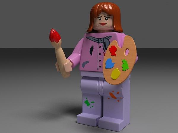 3d model lego girl female painter