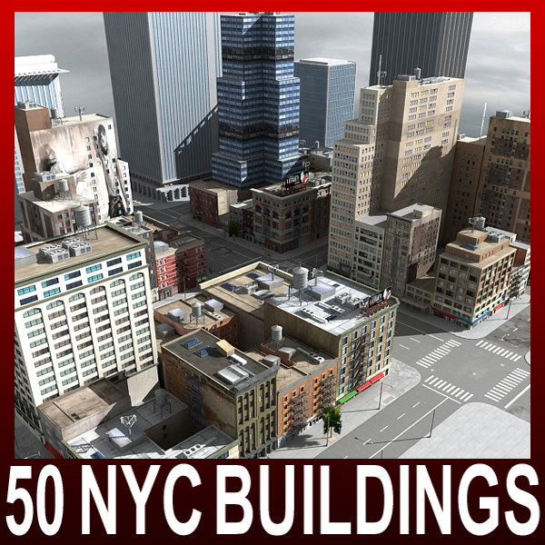 nyc 50 buildings 3d model